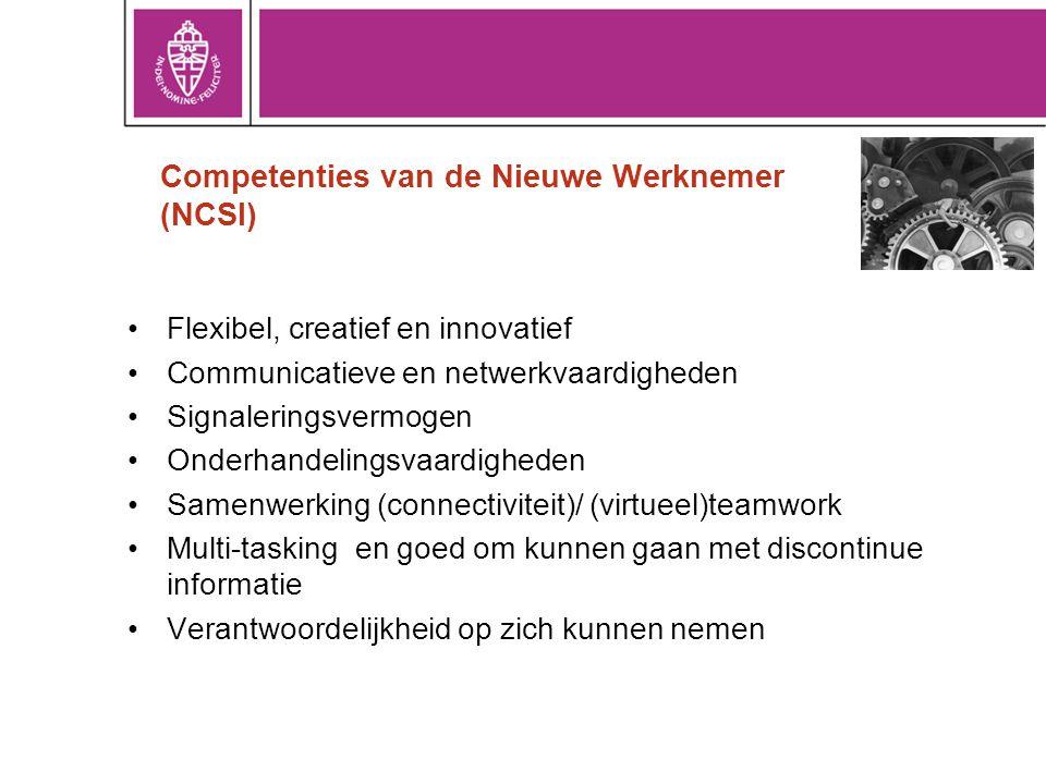 Competenties van de Nieuwe Werknemer (NCSI) Flexibel, creatief en innovatief Communicatieve en netwerkvaardigheden Signaleringsvermogen Onderhandelingsvaardigheden Samenwerking (connectiviteit)/ (virtueel)teamwork Multi-tasking en goed om kunnen gaan met discontinue informatie Verantwoordelijkheid op zich kunnen nemen