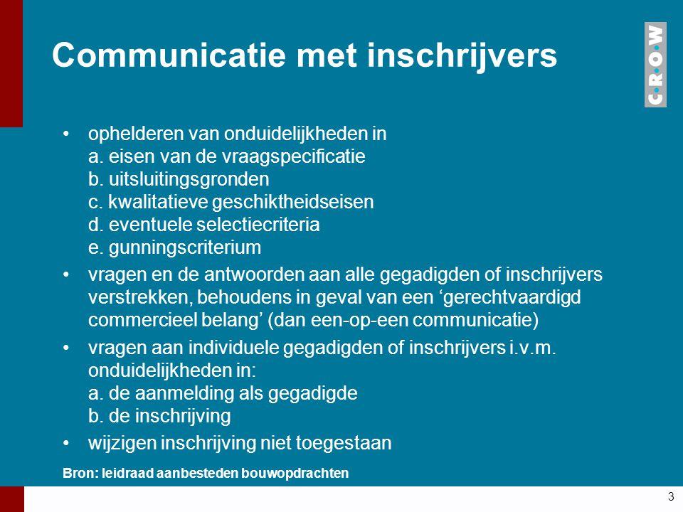 Communicatie met inschrijvers ophelderen van onduidelijkheden in a. eisen van de vraagspecificatie b. uitsluitingsgronden c. kwalitatieve geschiktheid