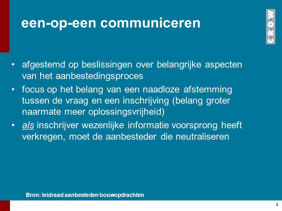 een-op-een communiceren afgestemd op beslissingen over belangrijke aspecten van het aanbestedingsproces focus op het belang van een naadloze afstemmin