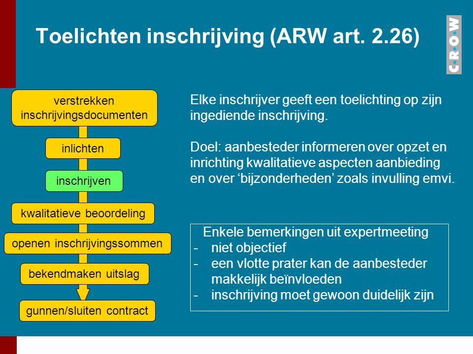 Toelichten inschrijving (ARW art. 2.26) Elke inschrijver geeft een toelichting op zijn ingediende inschrijving. Doel: aanbesteder informeren over opze