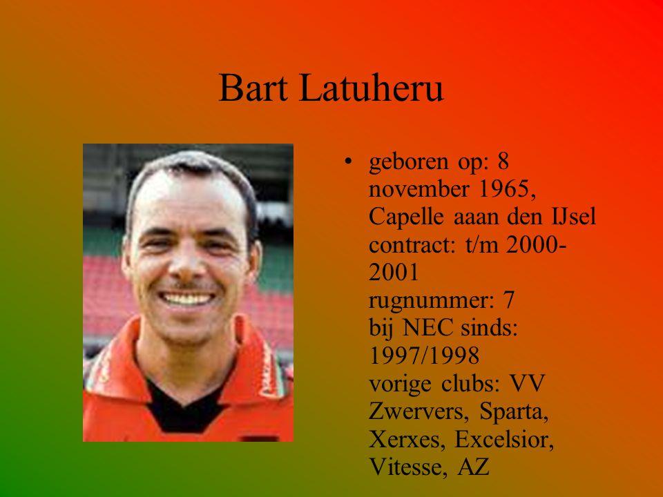 Bart Latuheru geboren op: 8 november 1965, Capelle aaan den IJsel contract: t/m 2000- 2001 rugnummer: 7 bij NEC sinds: 1997/1998 vorige clubs: VV Zwer
