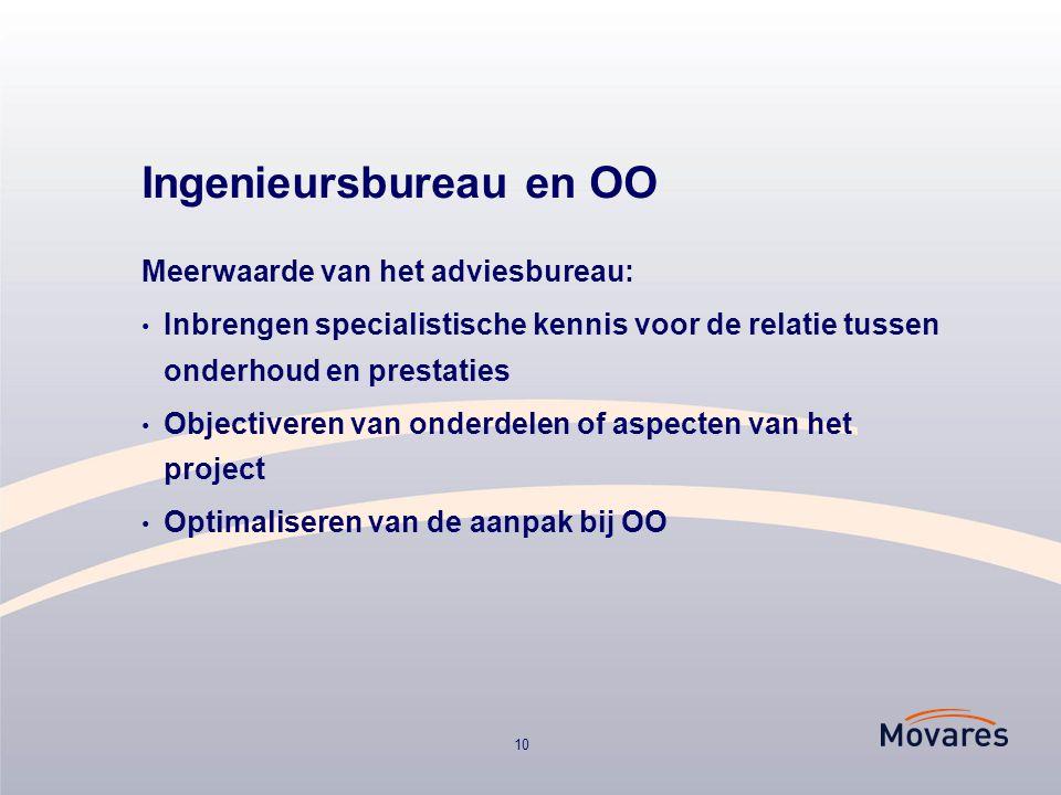 10 Ingenieursbureau en OO Meerwaarde van het adviesbureau: Inbrengen specialistische kennis voor de relatie tussen onderhoud en prestaties Objectiveren van onderdelen of aspecten van het project Optimaliseren van de aanpak bij OO