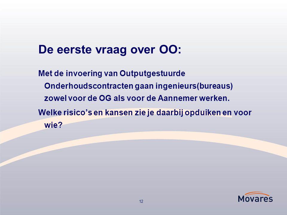 12 De eerste vraag over OO: Met de invoering van Outputgestuurde Onderhoudscontracten gaan ingenieurs(bureaus) zowel voor de OG als voor de Aannemer werken.