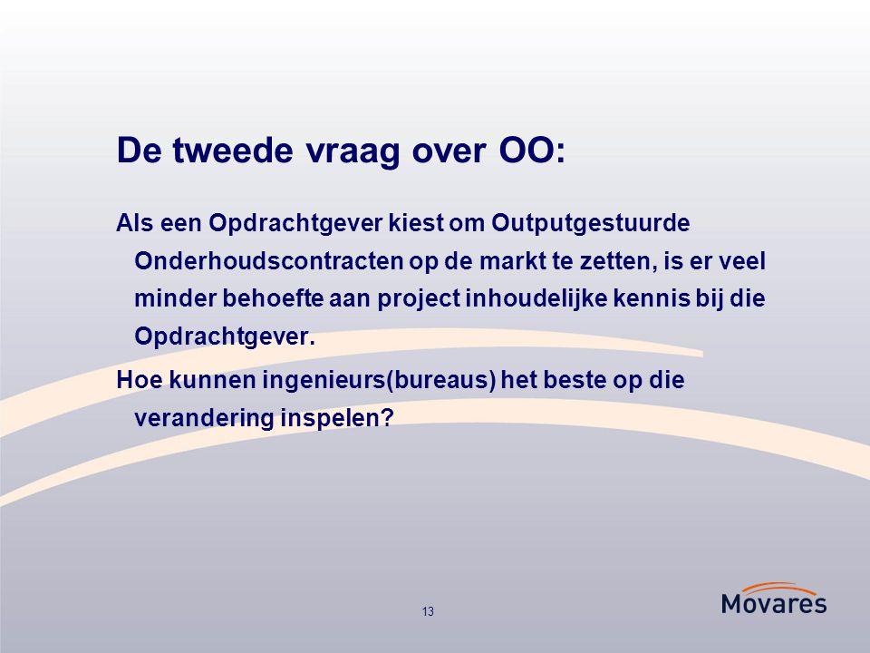 13 De tweede vraag over OO: Als een Opdrachtgever kiest om Outputgestuurde Onderhoudscontracten op de markt te zetten, is er veel minder behoefte aan