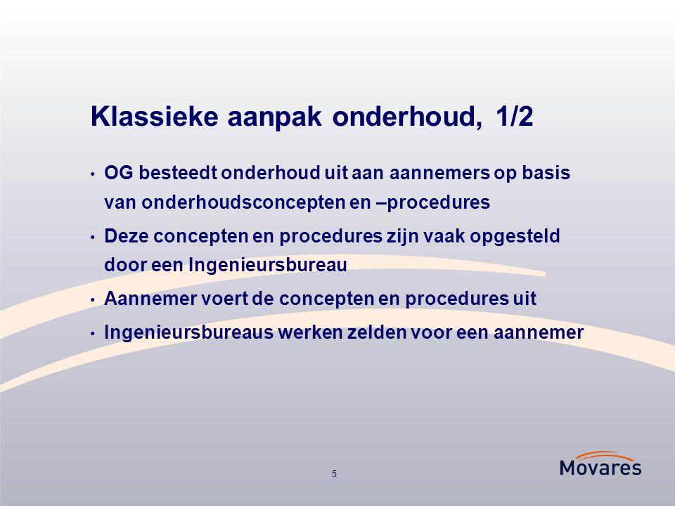 5 Klassieke aanpak onderhoud, 1/2 OG besteedt onderhoud uit aan aannemers op basis van onderhoudsconcepten en –procedures Deze concepten en procedures