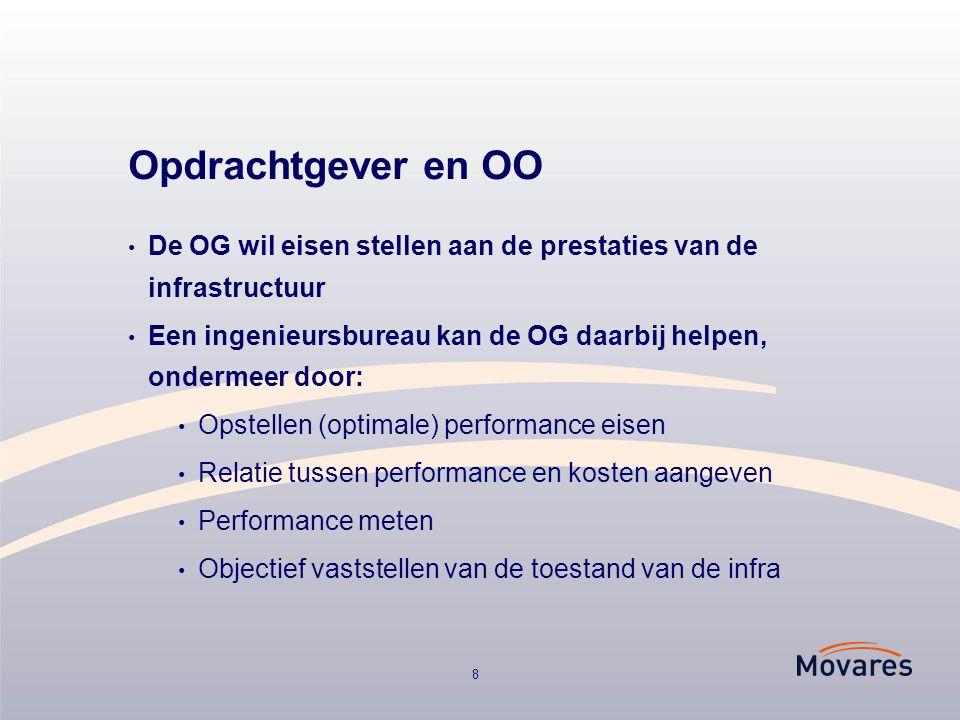 8 Opdrachtgever en OO De OG wil eisen stellen aan de prestaties van de infrastructuur Een ingenieursbureau kan de OG daarbij helpen, ondermeer door: O