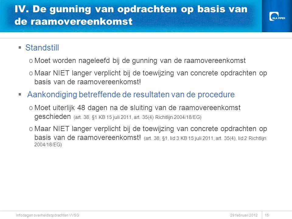 29 februari 2012 Infodagen overheidsopdrachten VVSG IV. De gunning van opdrachten op basis van de raamovereenkomst  Standstill oMoet worden nageleefd