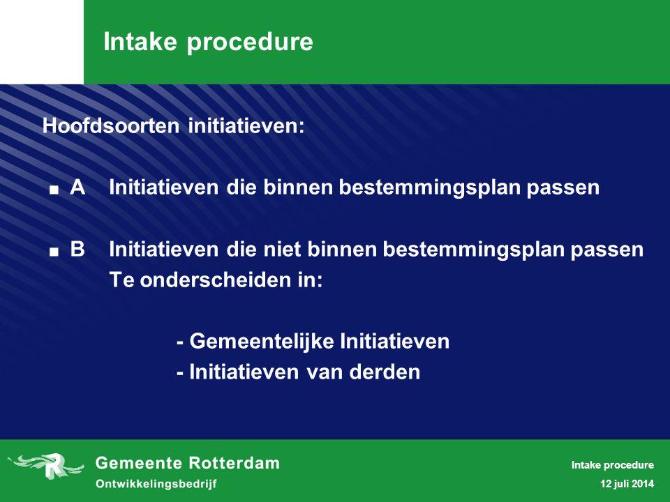12 juli 2014 Intake procedure