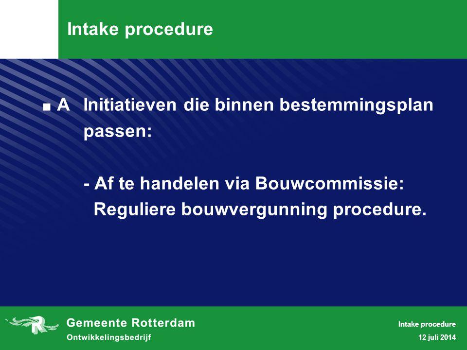 Intake Procedure BInitiatieven die niet binnen bestemmingsplan passen, krijgen te maken met: - Gebiedsmanager - Ruimtelijk Intake Team (RIT) - Anterieure contracten - Stedenbouwkundige randvoorwaarden - (project)bestemmingsplan - bestemmingplanprocedure - bouwvergunning 12 juli 2014 Intake procedure