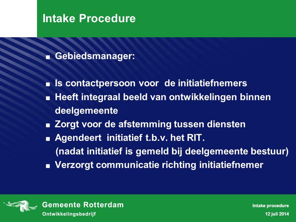 . VOORBEELDEN 12 juli 2014 Intake procedure