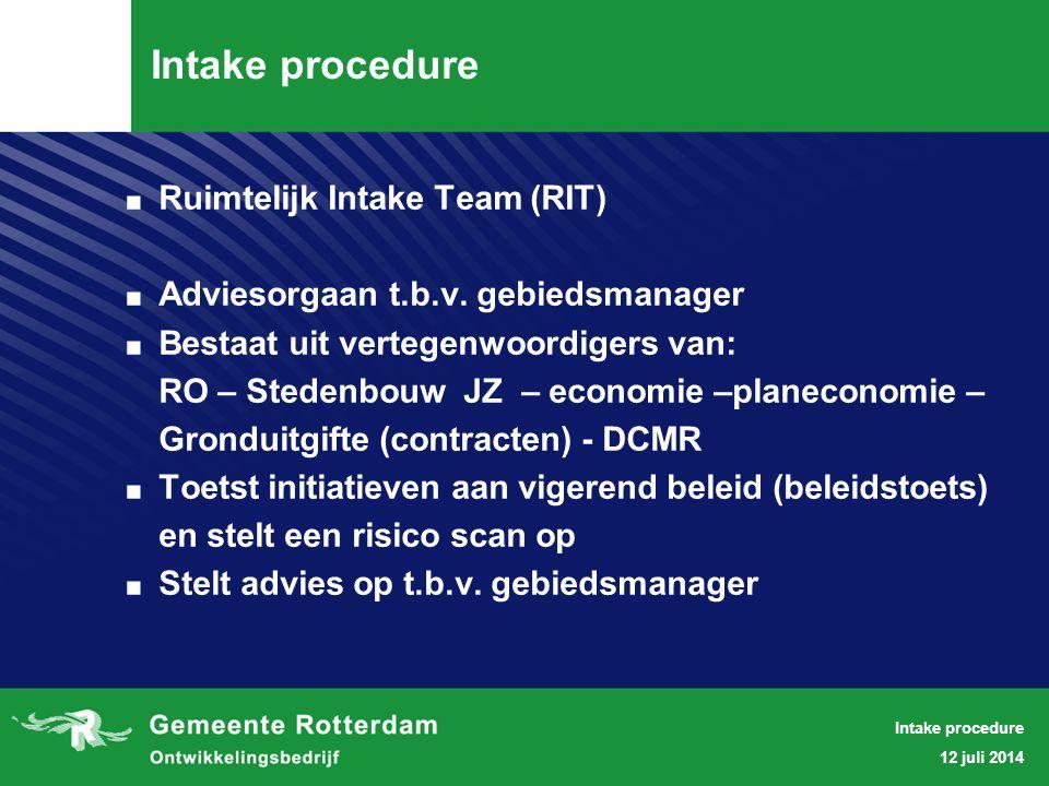 STARTNOTITIE RUIMTELIJK INTAKETEAM - BELEIDSTOETS - 20 april 2010.