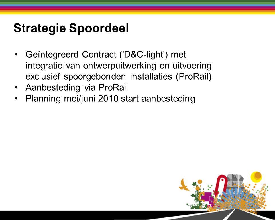 Strategie Spoordeel Geïntegreerd Contract ( D&C-light ) met integratie van ontwerpuitwerking en uitvoering exclusief spoorgebonden installaties (ProRail) Aanbesteding via ProRail Planning mei/juni 2010 start aanbesteding