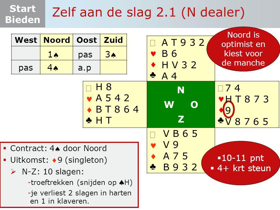 Start Bieden Zelf aan de slag 2.1 (N dealer)   ♣   ♣ N W O Z   ♣   ♣  Contract: 4 door Noord  Uitkomst: 9 (singleton)  N-Z: 10 slagen: -t
