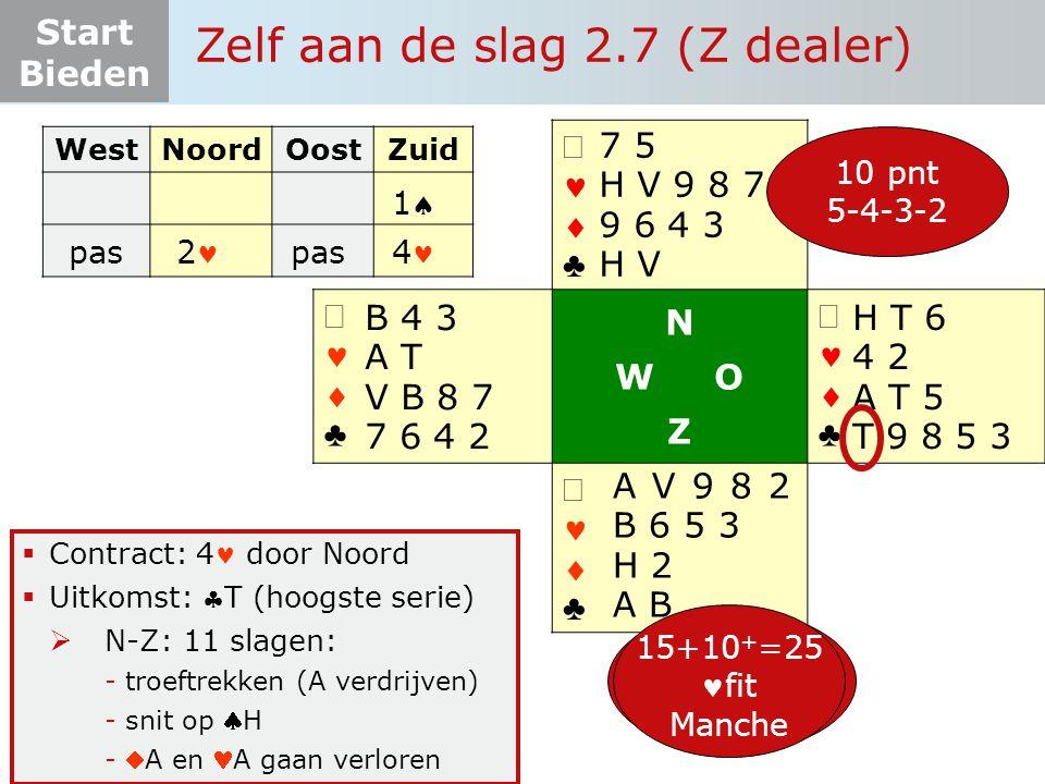 Start Bieden   ♣   ♣ N W O Z   ♣   ♣  Contract: 4 door Noord  Uitkomst: T (hoogste serie)  N-Z: 11 slagen: -troeftrekken (A verdrijven) -s