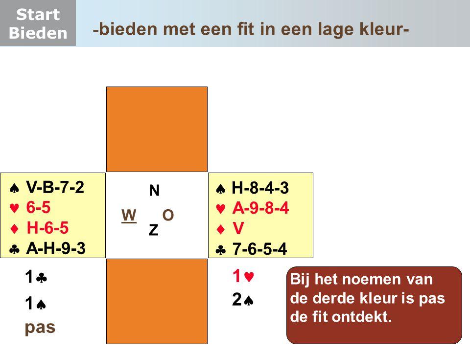 Start Bieden W O NZNZ  V-B-7-2  6-5  H-6-5  A-H-9-3  H-8-4-3  A-9-8-4  V  7-6-5-4 11 Bij het noemen van de derde kleur is pas de fit o