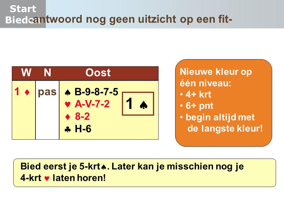 Start Bieden  B-9-8-7-5  A-V-7-2  8-2  H-6 W N Oost 1  pas 1 1  Nieuwe kleur op één niveau: 4+ krt 6+ pnt begin altijd met de langste kleur!