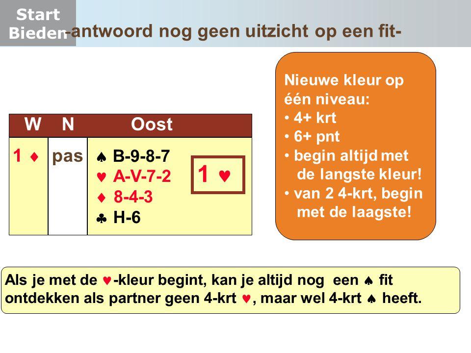 Start Bieden  B-9-8-7  A-V-7-2  8-4-3  H-6 W N Oost 1  pas 1 Nieuwe kleur op één niveau: 4+ krt 6+ pnt begin altijd met de langste kleur! van 2