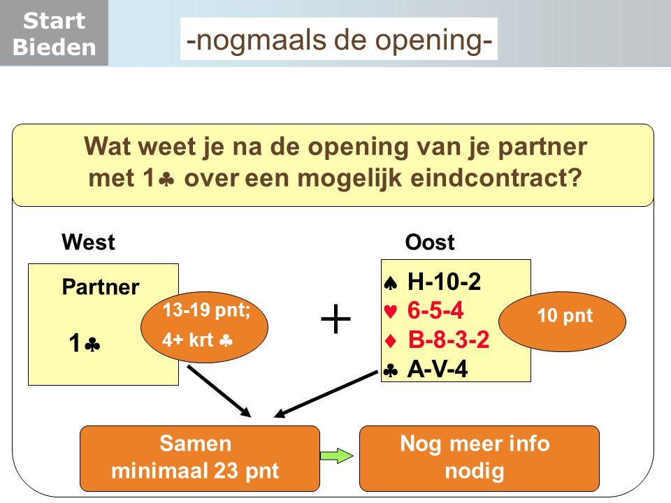 Start Bieden -nogmaals de opening- Wat weet je na de opening van je partner met 1  over een mogelijk eindcontract?  H-10-2  6-5-4  B-8-3-2  A