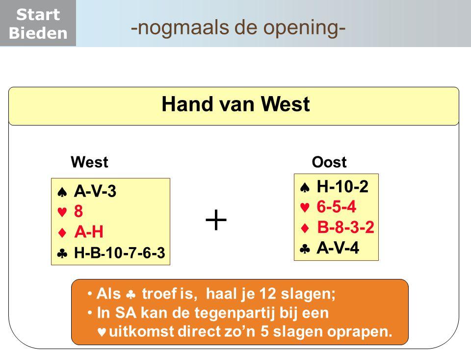 Start Bieden Hand van West  H-10-2  6-5-4  B-8-3-2  A-V-4 West Oost  A-V-3  8  A-H  H-B - 10-7-6-3 Als   troef is, haal je 12 slagen;