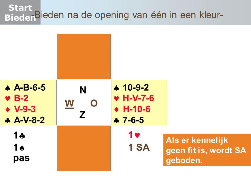 Start Bieden W O NZNZ  A-B-6-5  B-2  V-9-3  A-V-8-2  10-9-2  H-V-7-6  H-10-6  7-6-5 11 Als er kennelijk geen fit is, wordt SA geboden.
