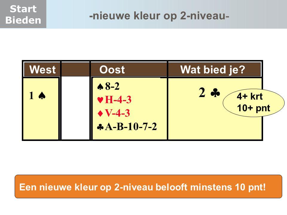 Start Bieden -nieuwe kleur op 2-niveau - West Oost Wat bied je?  8-2 H-4-3  V-4-3  A-B-10-7-2 1  2  4+ krt 10+ pnt Een nieuwe kleur op 2-niveau b