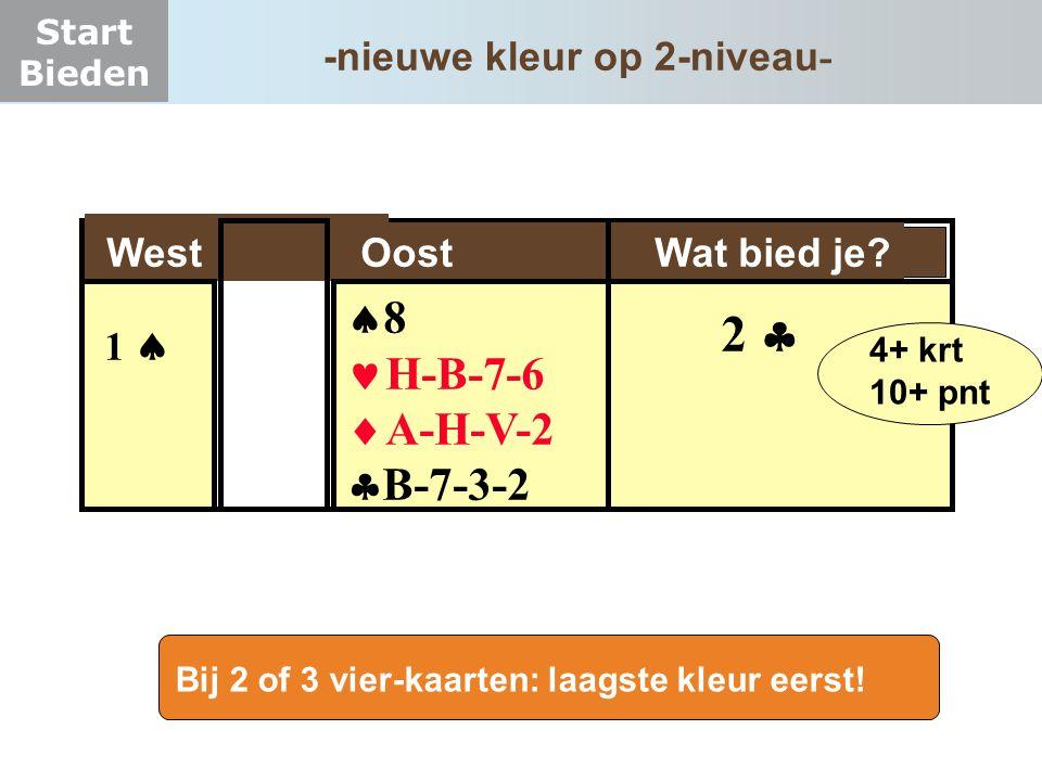Start Bieden West Oost Wat bied je?  8 H-B-7-6  A-H-V-2  B-7-3-2 1  2  4+ krt 10+ pnt Bij 2 of 3 vier-kaarten: laagste kleur eerst! -nieuwe kleur