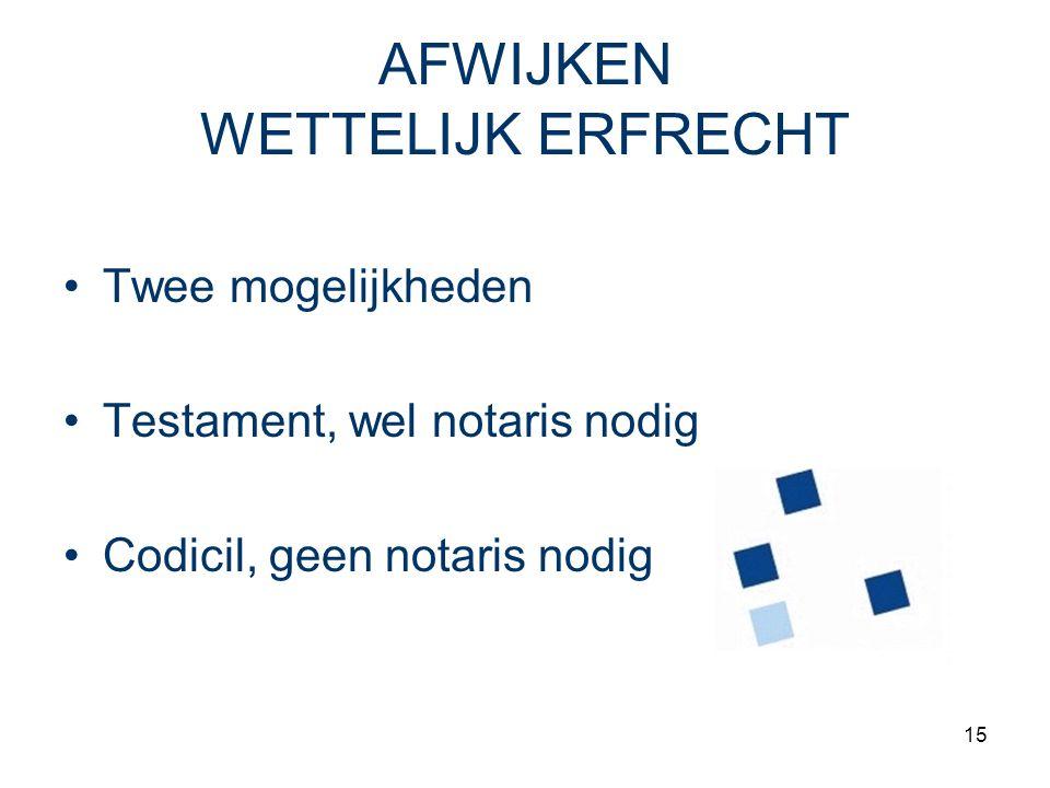 15 AFWIJKEN WETTELIJK ERFRECHT Twee mogelijkheden Testament, wel notaris nodig Codicil, geen notaris nodig