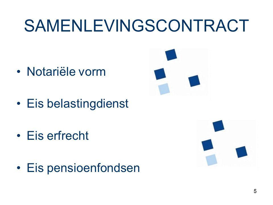 5 SAMENLEVINGSCONTRACT Notariële vorm Eis belastingdienst Eis erfrecht Eis pensioenfondsen
