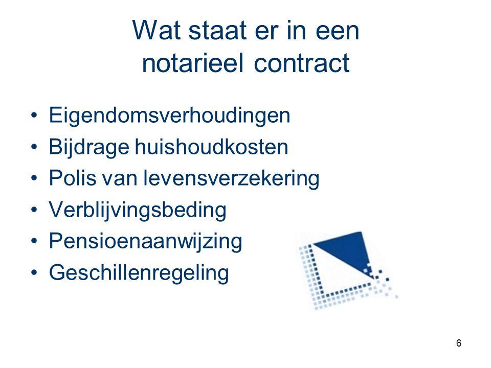 6 Wat staat er in een notarieel contract Eigendomsverhoudingen Bijdrage huishoudkosten Polis van levensverzekering Verblijvingsbeding Pensioenaanwijzi