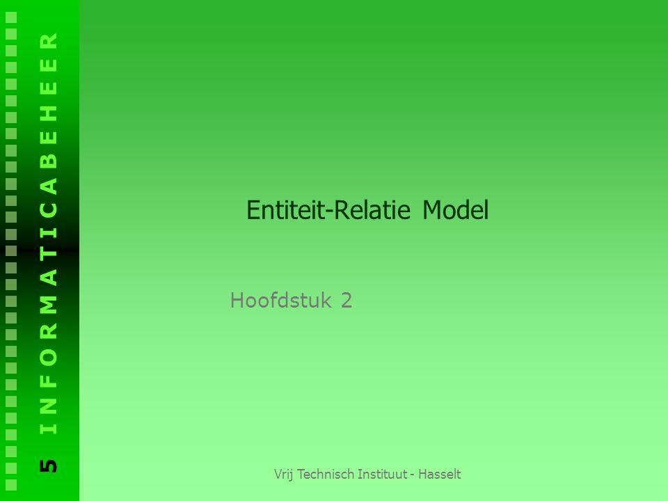 5 I N F O R M A T I C A B E H E E R Vrij Technisch Instituut - Hasselt Entiteit-Relatie Model Hoofdstuk 2