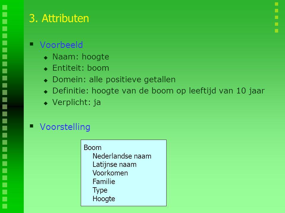 3. Attributen  Voorbeeld  Naam: hoogte  Entiteit: boom  Domein: alle positieve getallen  Definitie: hoogte van de boom op leeftijd van 10 jaar 