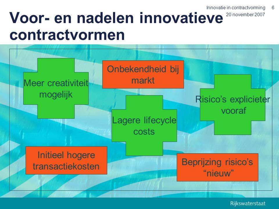 20 november 2007 Innovatie in contractvorming6 Voor- en nadelen innovatieve contractvormen Meer creativiteit mogelijk Risico's explicieter vooraf Lagere lifecycle costs Onbekendheid bij markt Beprijzing risico's nieuw Initieel hogere transactiekosten