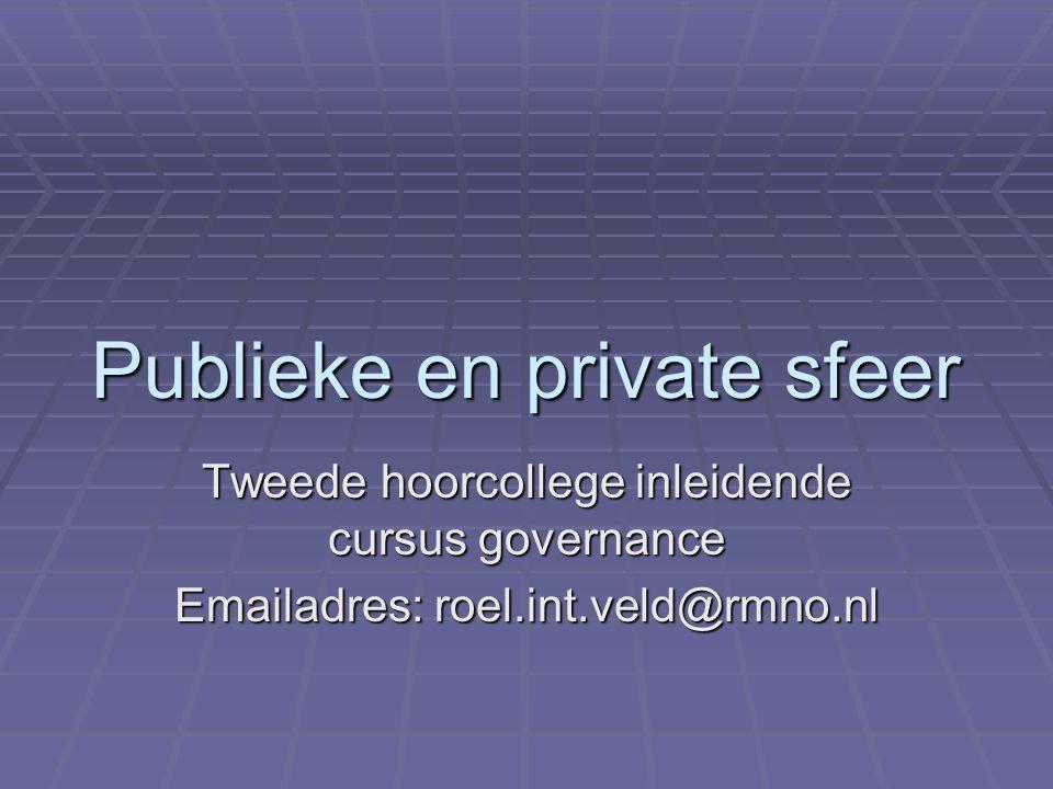 Publieke en private sfeer Tweede hoorcollege inleidende cursus governance Emailadres: roel.int.veld@rmno.nl