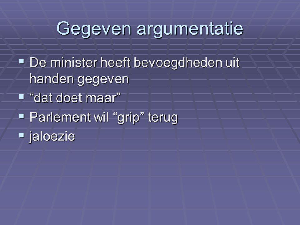 """Gegeven argumentatie  De minister heeft bevoegdheden uit handen gegeven  """"dat doet maar""""  Parlement wil """"grip"""" terug  jaloezie"""