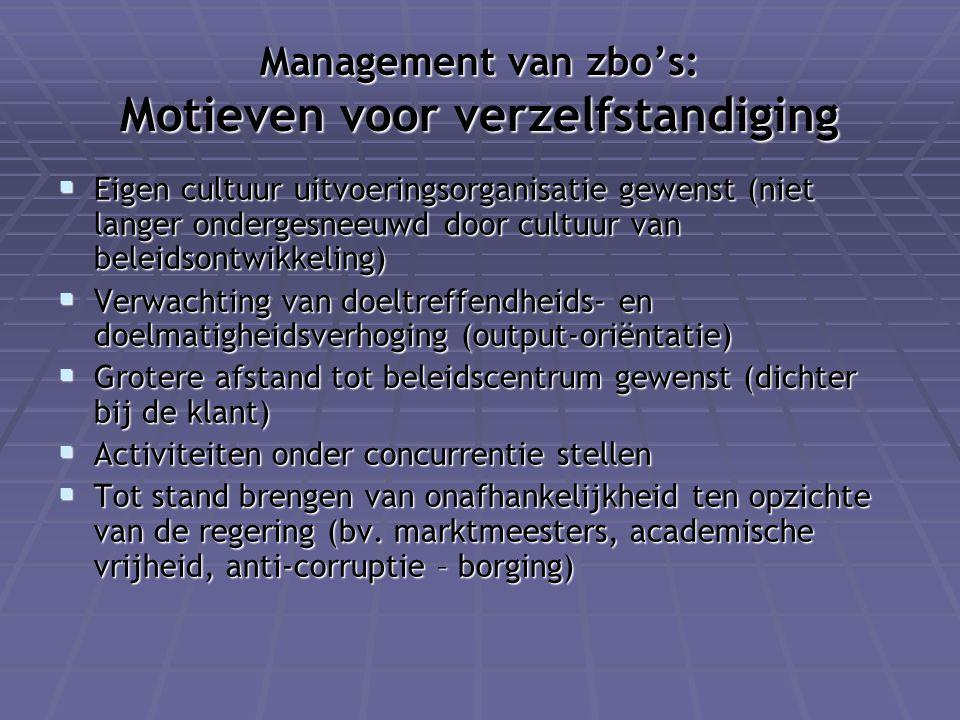 Management van zbo's: Motieven voor verzelfstandiging  Eigen cultuur uitvoeringsorganisatie gewenst (niet langer ondergesneeuwd door cultuur van bele