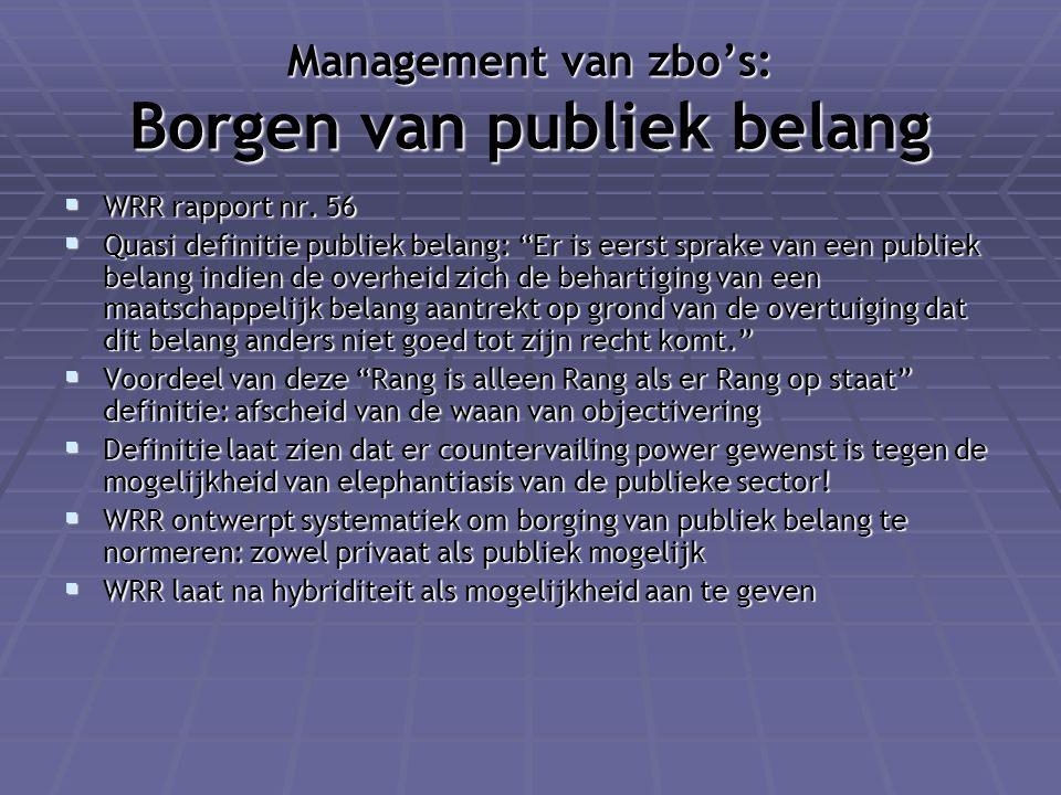 """Management van zbo's: Borgen van publiek belang  WRR rapport nr. 56  Quasi definitie publiek belang: """"Er is eerst sprake van een publiek belang indi"""
