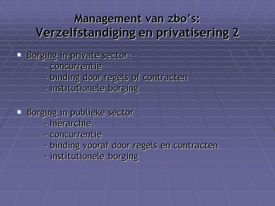 Management van zbo's: Verzelfstandiging en privatisering 2  Borging in private sector: - concurrentie - binding door regels of contracten - instituti