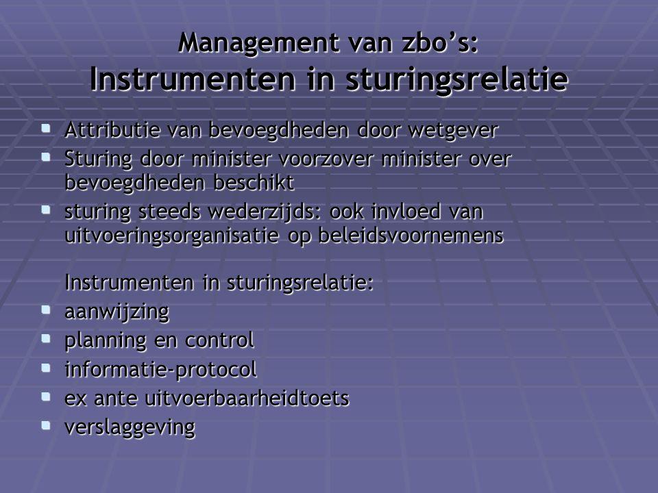 Management van zbo's: Instrumenten in sturingsrelatie  Attributie van bevoegdheden door wetgever  Sturing door minister voorzover minister over bevo