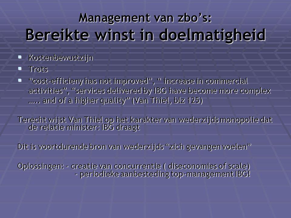 """Management van zbo's: Bereikte winst in doelmatigheid  Kostenbewustzijn  Trots  """"cost-efficieny has not improved"""", """" increase in commercial activit"""