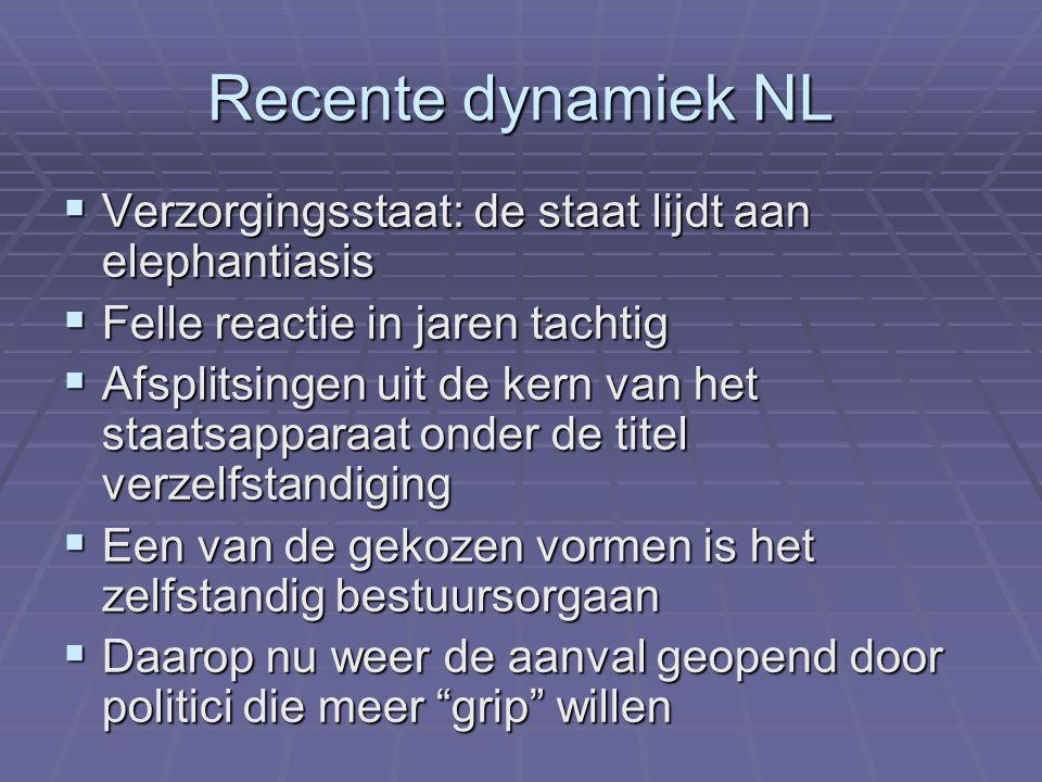 Recente dynamiek NL  Verzorgingsstaat: de staat lijdt aan elephantiasis  Felle reactie in jaren tachtig  Afsplitsingen uit de kern van het staatsap