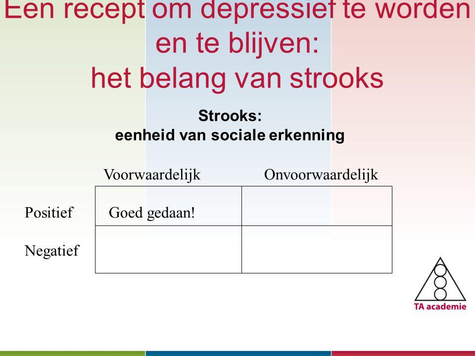 Een recept om depressief te worden en te blijven: het belang van strooks Januari 2010 Voorwaardelijk Onvoorwaardelijk Positief Goed gedaan! Negatief S