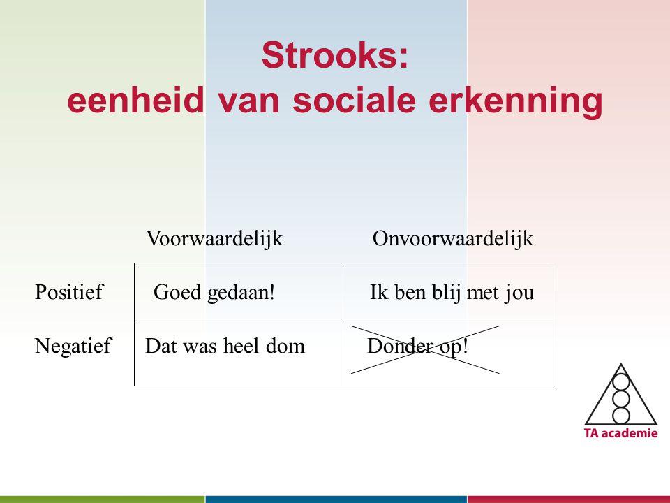 Strooks: eenheid van sociale erkenning Januari 2010 Voorwaardelijk Onvoorwaardelijk Positief Goed gedaan.