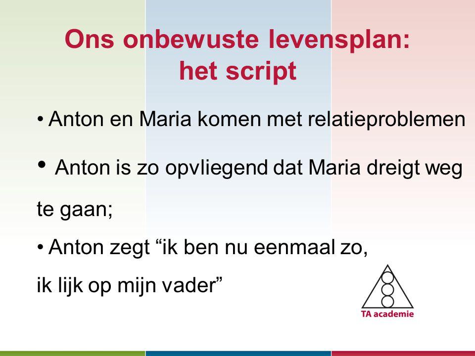 Ons onbewuste levensplan: het script Januari 2010 Anton en Maria komen met relatieproblemen Anton is zo opvliegend dat Maria dreigt weg te gaan; Anton