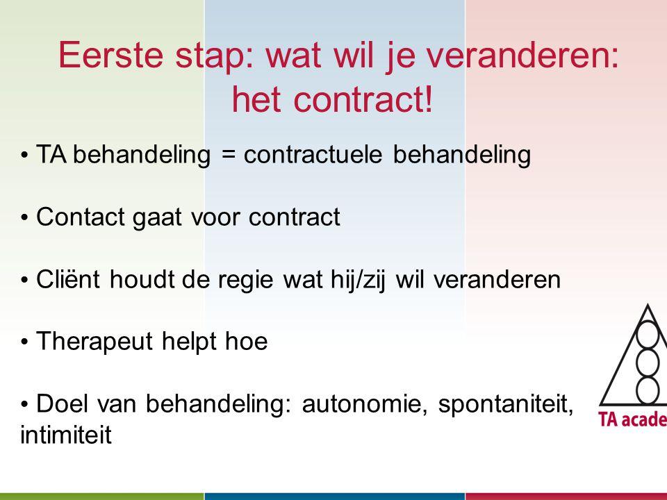 Eerste stap: wat wil je veranderen: het contract! Januari 2010 TA behandeling = contractuele behandeling Contact gaat voor contract Cliënt houdt de re