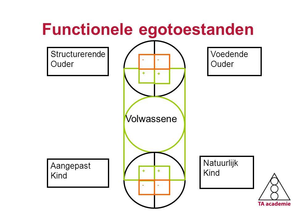 Functionele egotoestanden Januari 2010 + + Structurerende Ouder ++ Voedende Ouder - -- - Aangepast Kind Natuurlijk Kind Volwassene