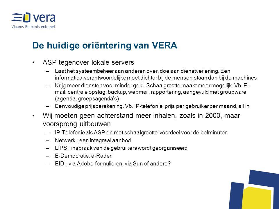 De huidige oriëntering van VERA ASP tegenover lokale servers –Laat het systeembeheer aan anderen over, doe aan dienstverlening.