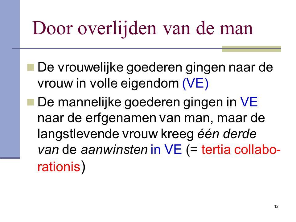 11 Door het overlijden of verstoting van de vrouw De mannelijke goederen gingen naar de man in volle eigendom (VE) De vrouwelijke goederen gingen naar