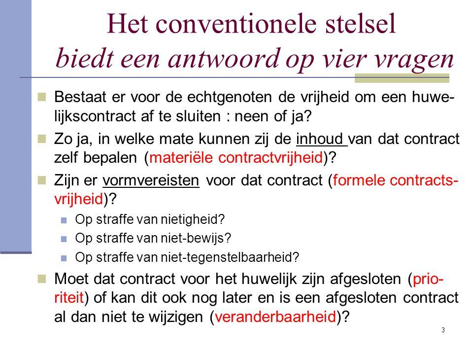 3 Het conventionele stelsel biedt een antwoord op vier vragen Bestaat er voor de echtgenoten de vrijheid om een huwe- lijkscontract af te sluiten : neen of ja.