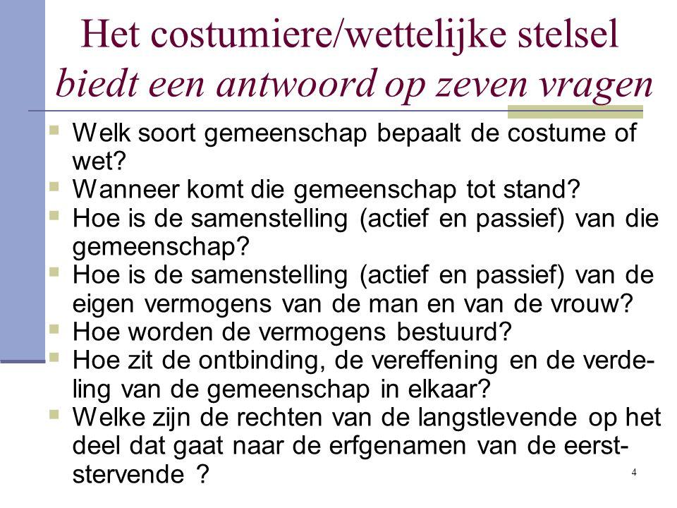 4 Het costumiere/wettelijke stelsel biedt een antwoord op zeven vragen  Welk soort gemeenschap bepaalt de costume of wet.