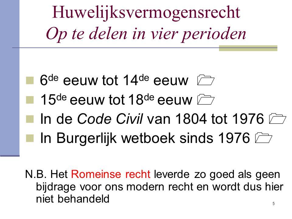 5 Huwelijksvermogensrecht Op te delen in vier perioden 6 de eeuw tot 14 de eeuw  15 de eeuw tot 18 de eeuw  In de Code Civil van 1804 tot 1976  In Burgerlijk wetboek sinds 1976  N.B.